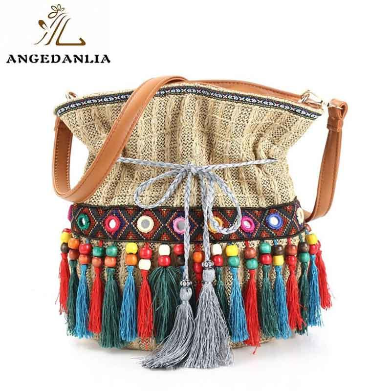 Women's shoulder bags Hippie ethnic Style Ladies Boho Bucket Bag