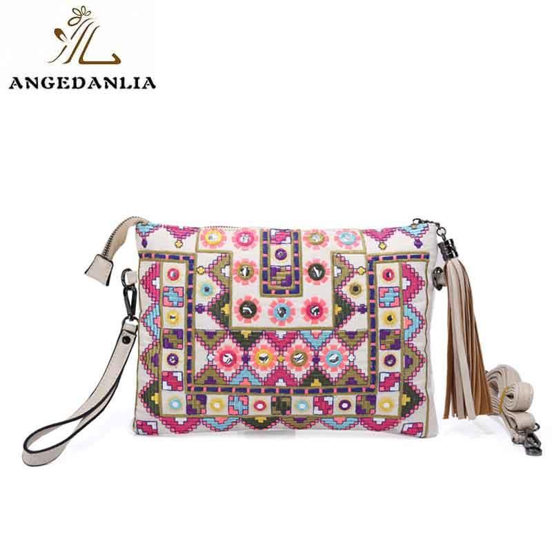 Bohemian envelope style ethnic handmade embroidery clutch purses bag