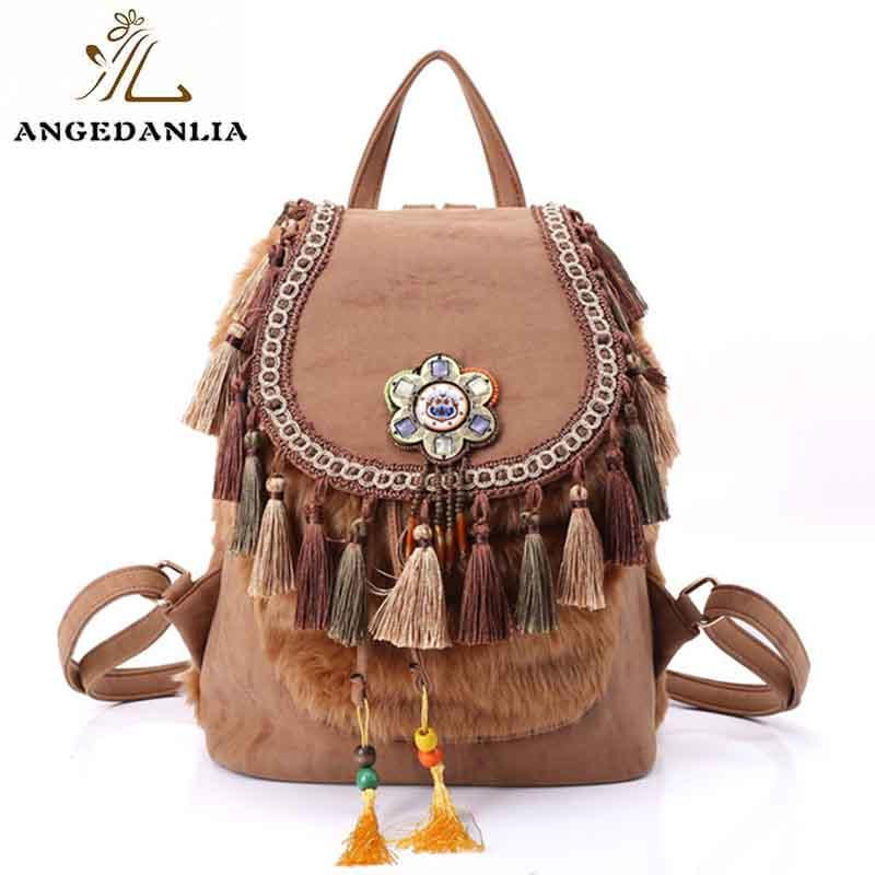 Fashion animal fur with beaded design cute girl small leather weekend backpack