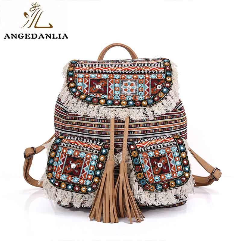 Fashion tassel cotton fabric weekend travel ethnic backpacks bags for lady