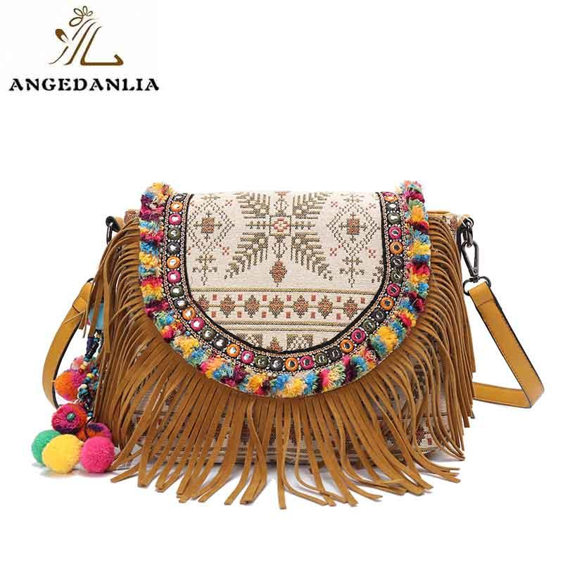 Classical design ladies boho ethnic canvas shoulder bag