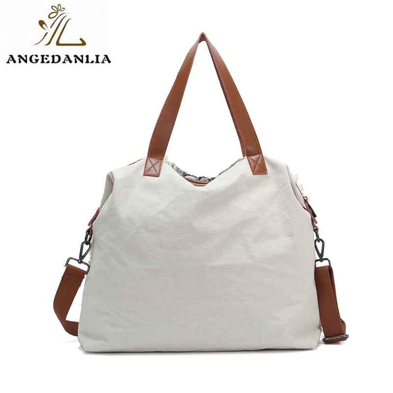 New design ladies canvas genuine leather tote bag custom fashion shopping utility tote bag