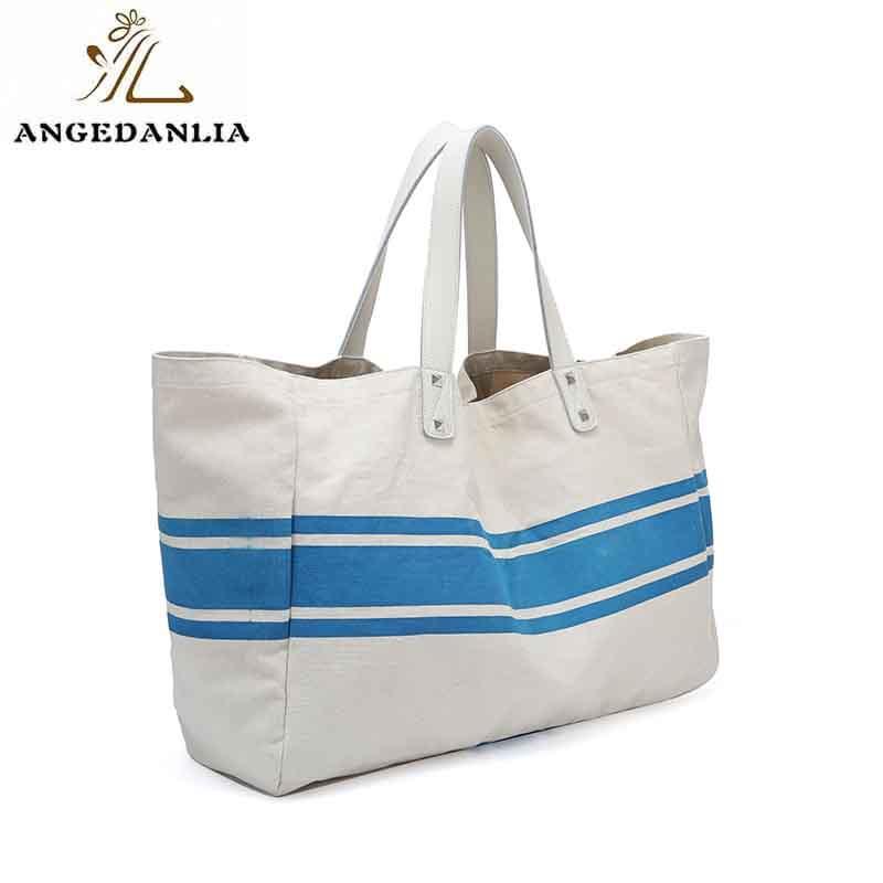 Custom standard size tote bag designer fashion bag with zipper