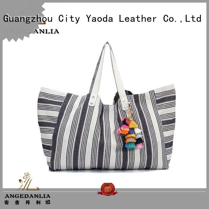 Guangzhou canvas pu leather womens tote shoulder handbag