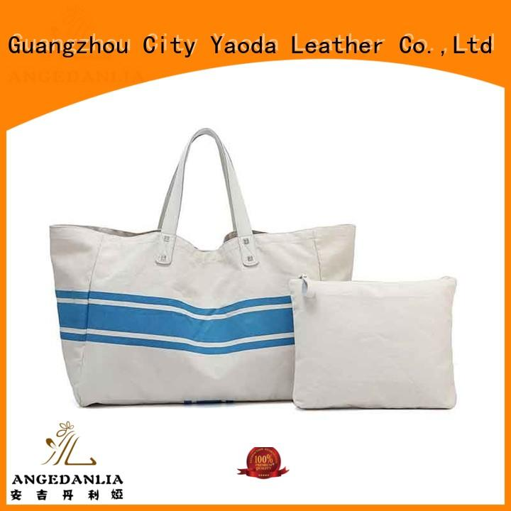 Custom standard size tote bag designer fashion bag with zipper