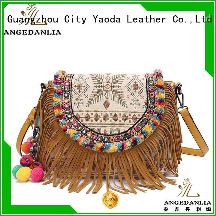 leather boho travel bag good quality for girls ANGEDANLIA