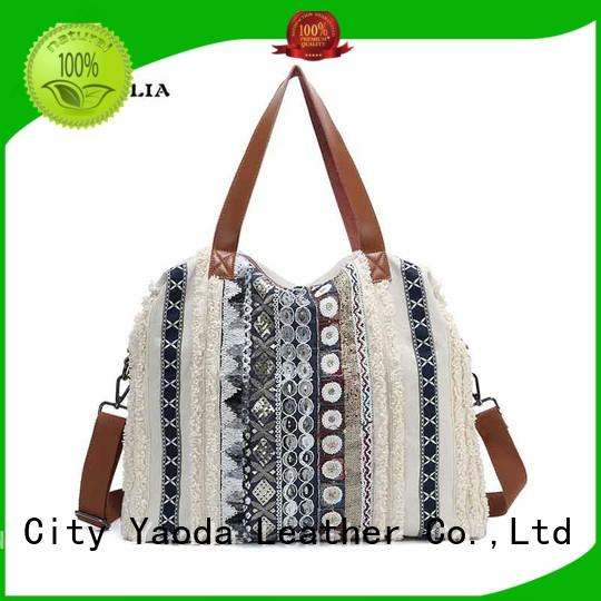 ANGEDANLIA genuine white canvas bag with zipper for lady