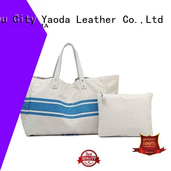fashion canvas beach tote yw4935 with zipper for daily life