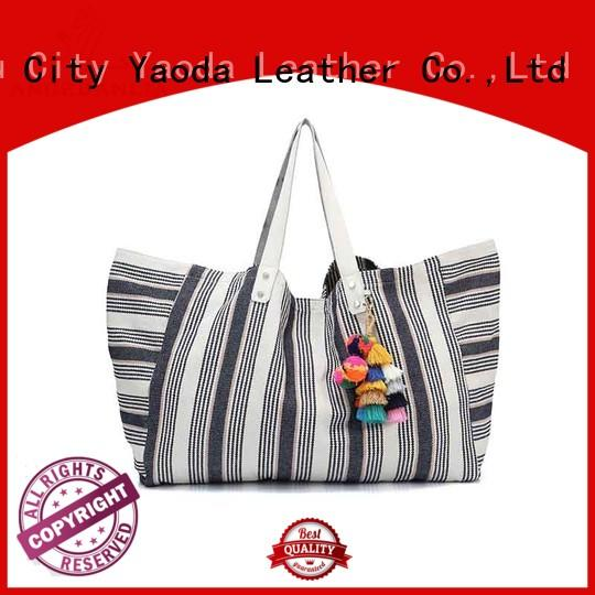 ANGEDANLIA embroidery canvas bag with zipper for travel
