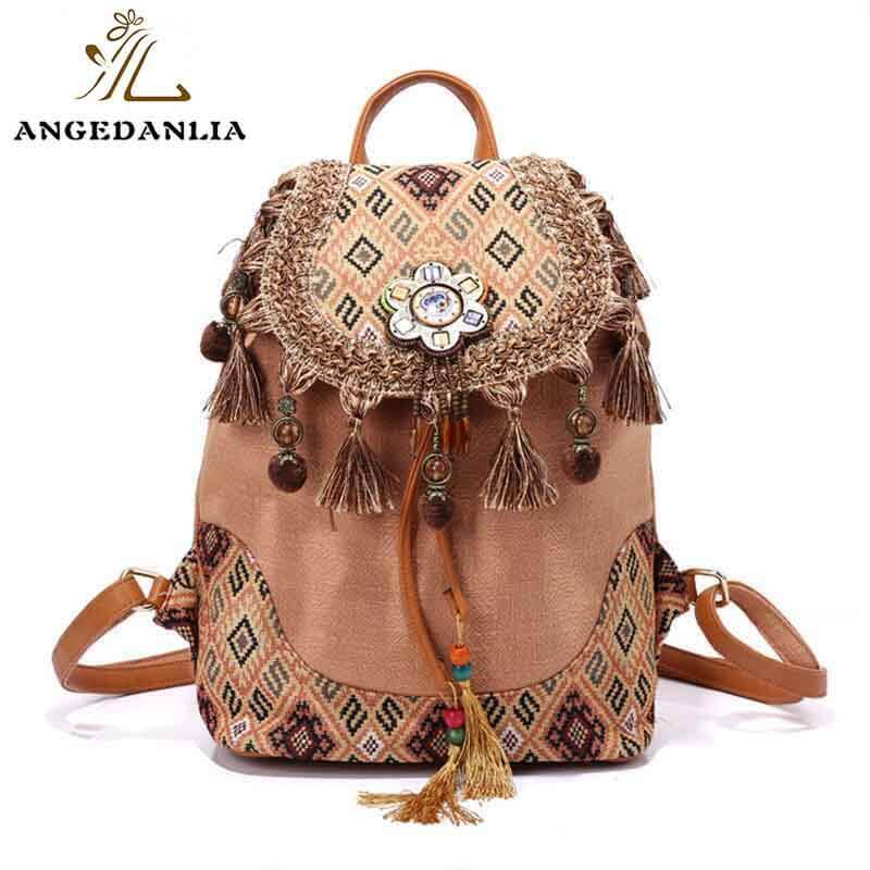 Bohemian Backpack Linen Bags Wholesale Vintage Style Shoulder Bag For Travel