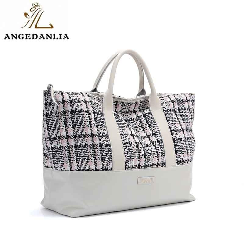 Newest design casual beach mat shoulder tote bag with leather