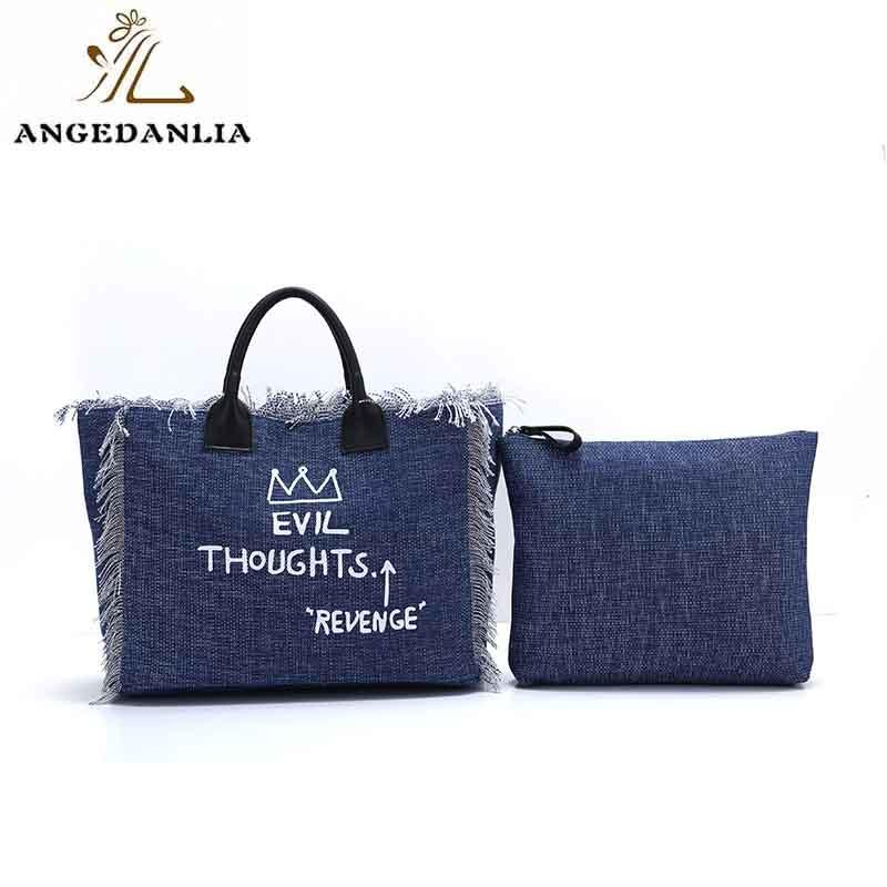 Promotion fashion latest ladies canvas shoulder bag with real/pu leather