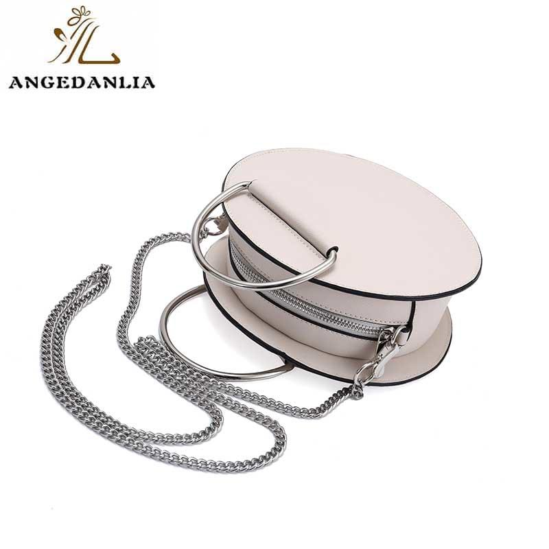Round chain handle crossbody bag pu tote handbag