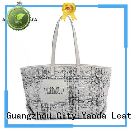 fashion canvas leather tote canvas Chinese for daily life