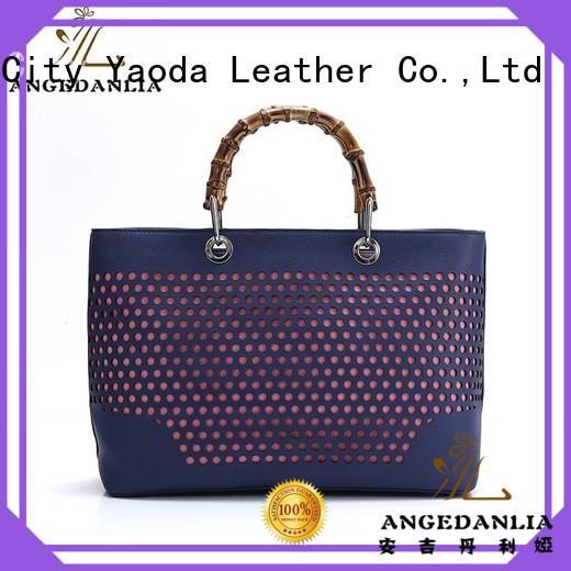 bamboo pu handbags size for work ANGEDANLIA