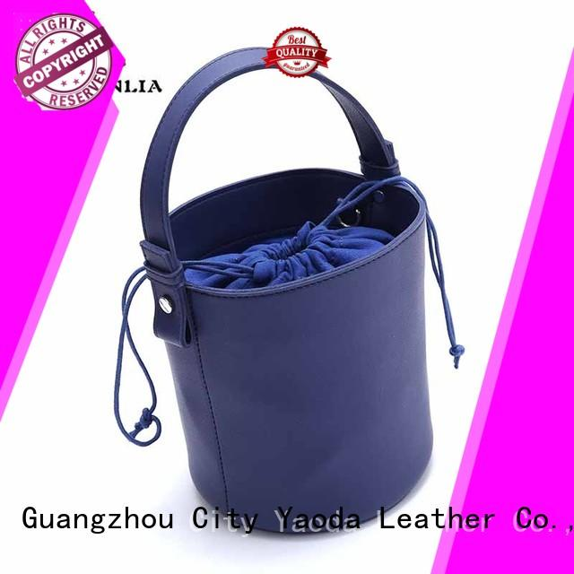 Fashion silver chain and pu leather handle crossbody bag tote bucket bag