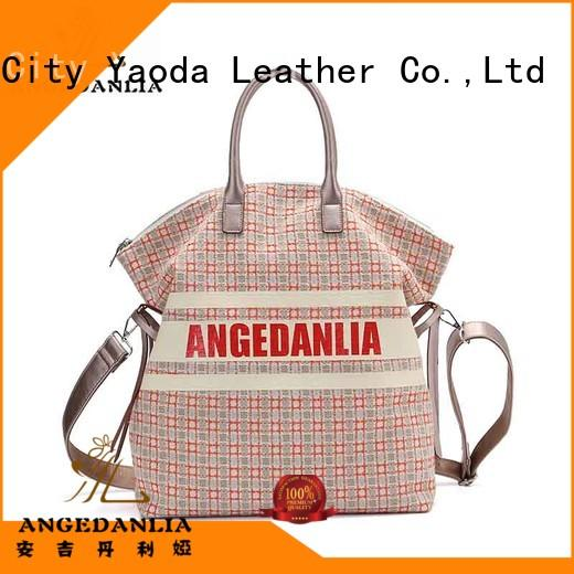 ANGEDANLIA fashion women's canvas tote with zipper for lady