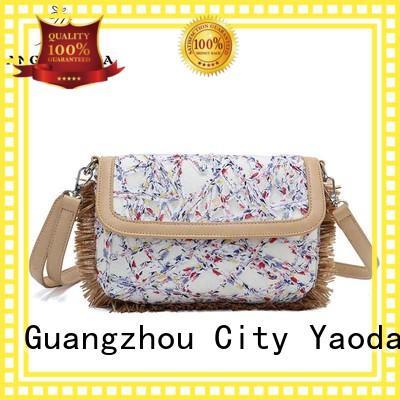 ANGEDANLIA casual canvas and leather bag handbag for lady