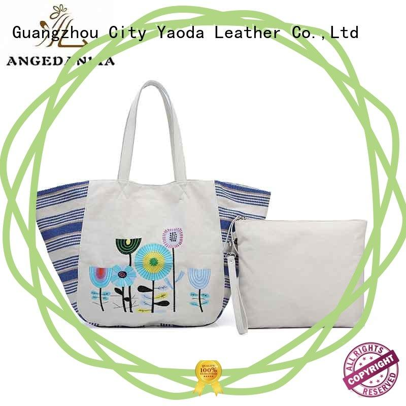 Fashion custom women canvas genuine leather handle handbag crossbody bag