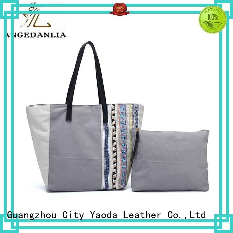 ANGEDANLIA popular canvas tote with leather handles online for lady