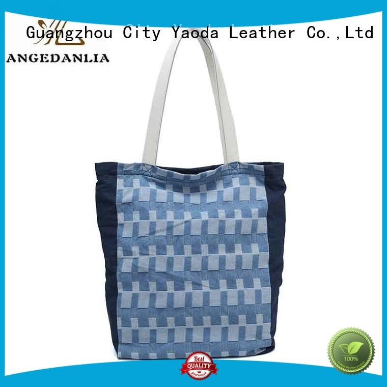 fashion canvas leather tote bag genuine for travel ANGEDANLIA