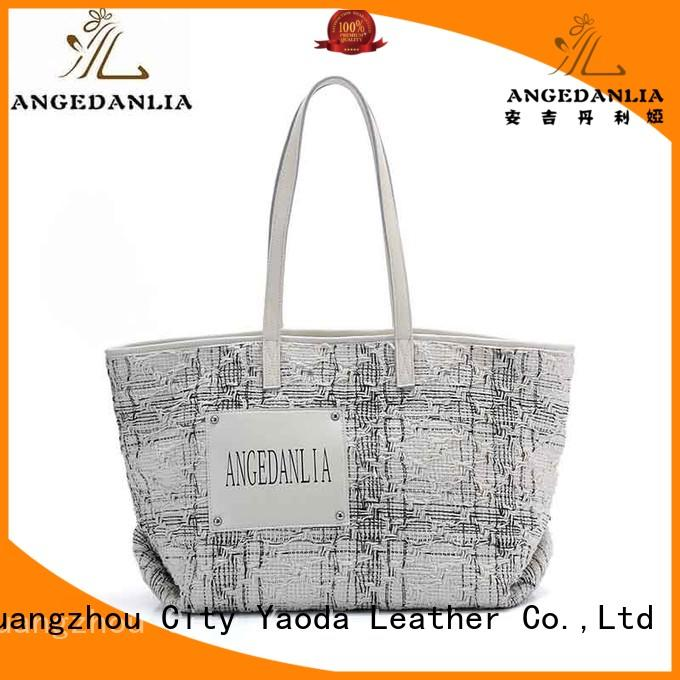casual canvas and leather tote bag logo with zipper for shopping