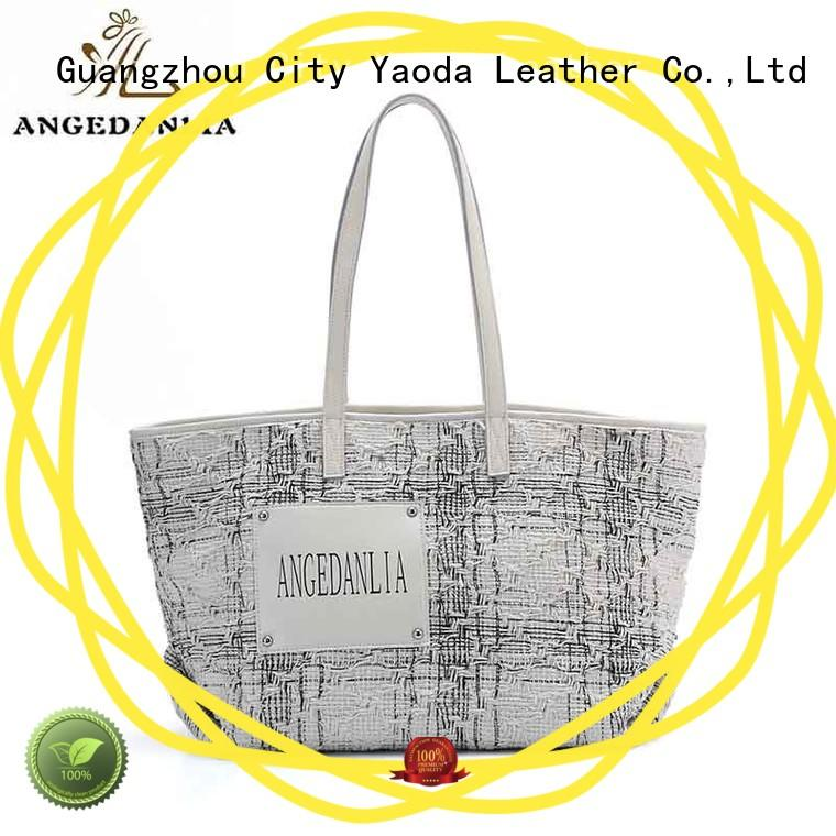canvas bag with leather straps pink for daily life ANGEDANLIA