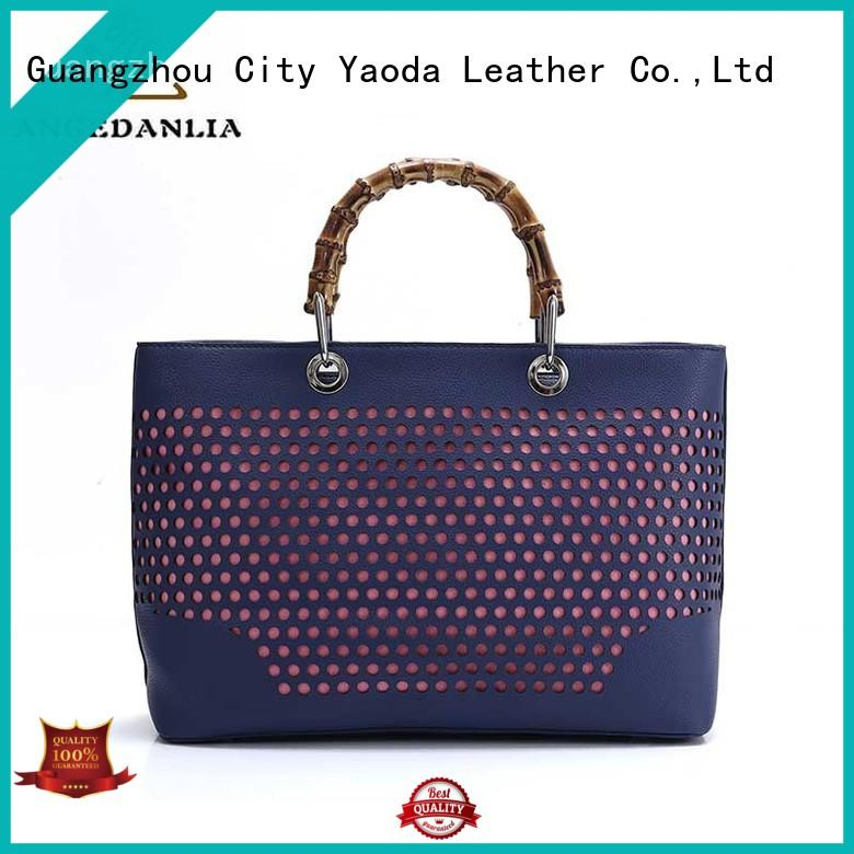 Women ladies fashion pu tote bag with bamboo handles