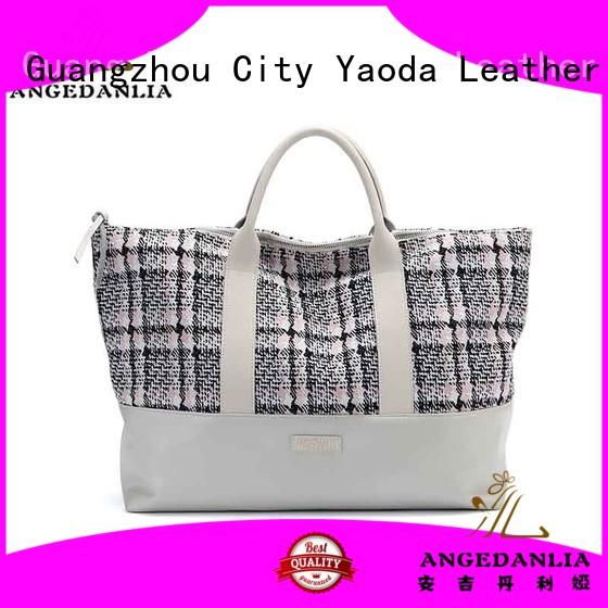 ANGEDANLIA leather canvas bag with leather handles with zipper for lady