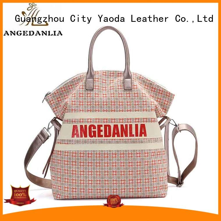 ANGEDANLIA customized canvas leather tote bag online for lady