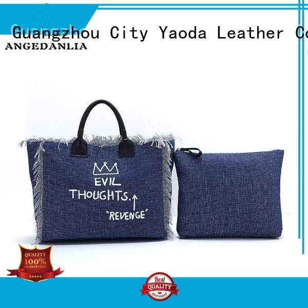 ANGEDANLIA customized canvas leather tote bag online for shopping