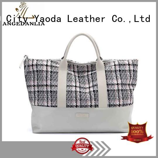leather canvas beach tote embroidery for travel ANGEDANLIA