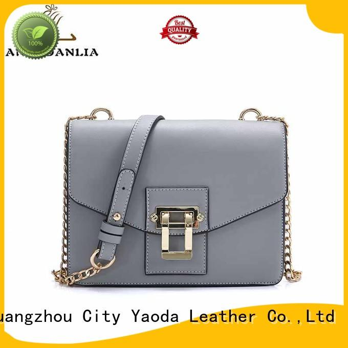 ANGEDANLIA Brand luxury fashion ladies leather weekend bag silver