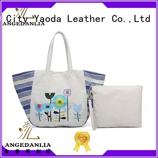 fashion canvas tote crossbody with zipper for lady