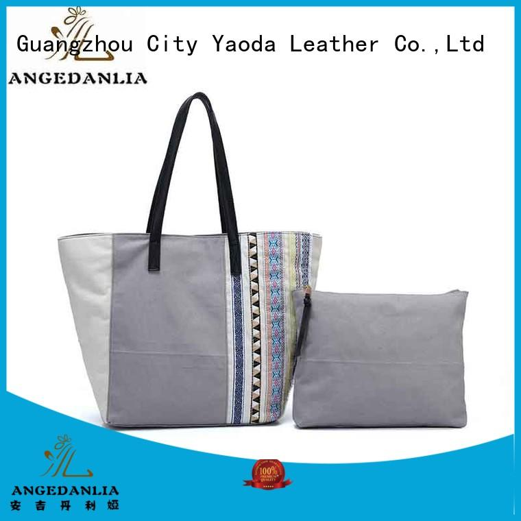 fashion women's canvas bag pu online for travel