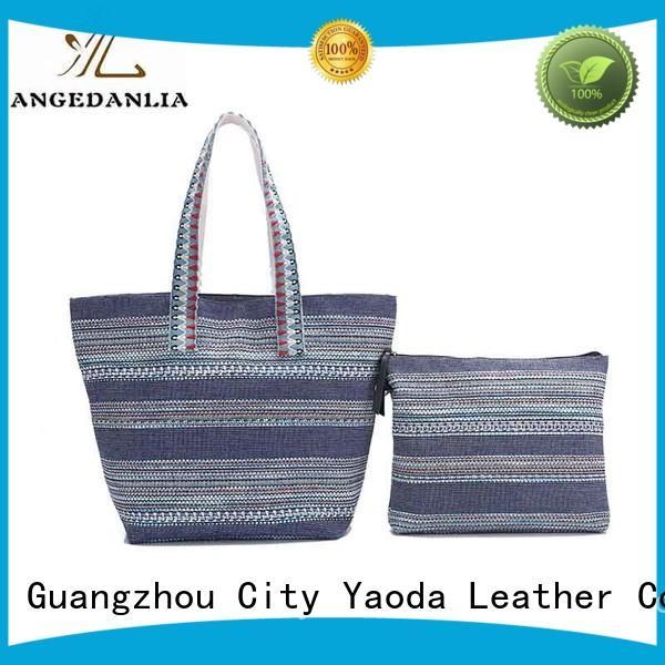 Custom genuine leather women travel canvas shoulder handbag