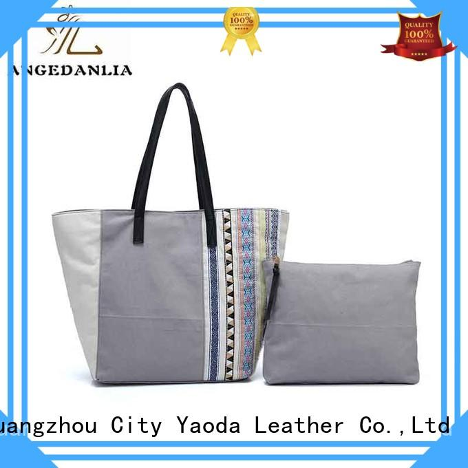 fashion canvas tote with leather handles on sale for daily life