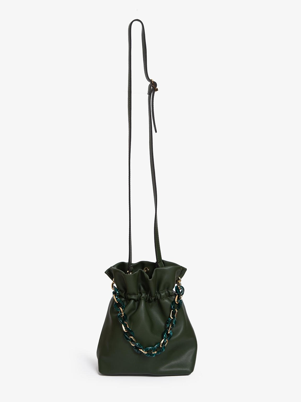 Customized logo summer design crossbody bag women leather bucket handbags with acrylic olive chain