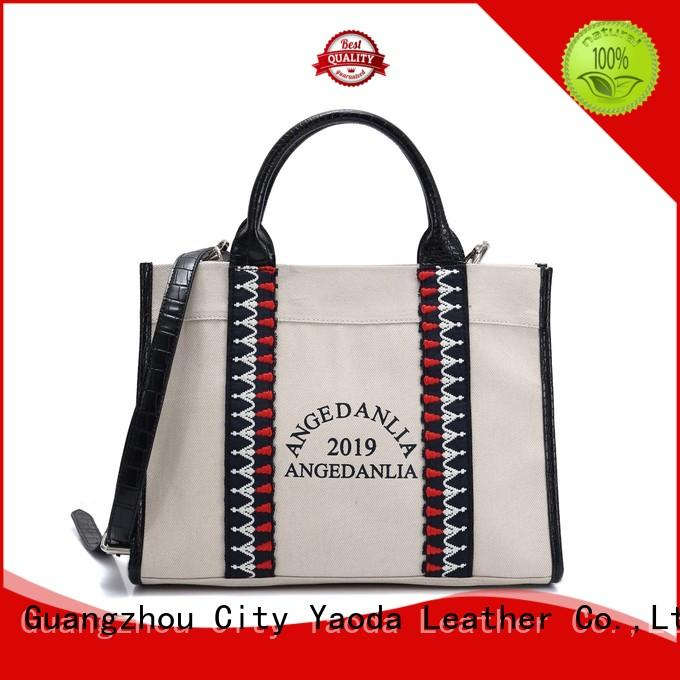 ANGEDANLIA popular canvas leather tote bag online for travel