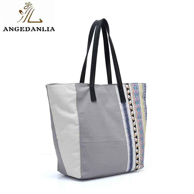 ANGEDANLIA casual boho canvas bag with zipper for daily life