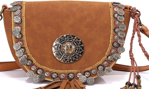 Ethnic Laser Technic Beaded Embellished PU Women Shoulder Bags-2