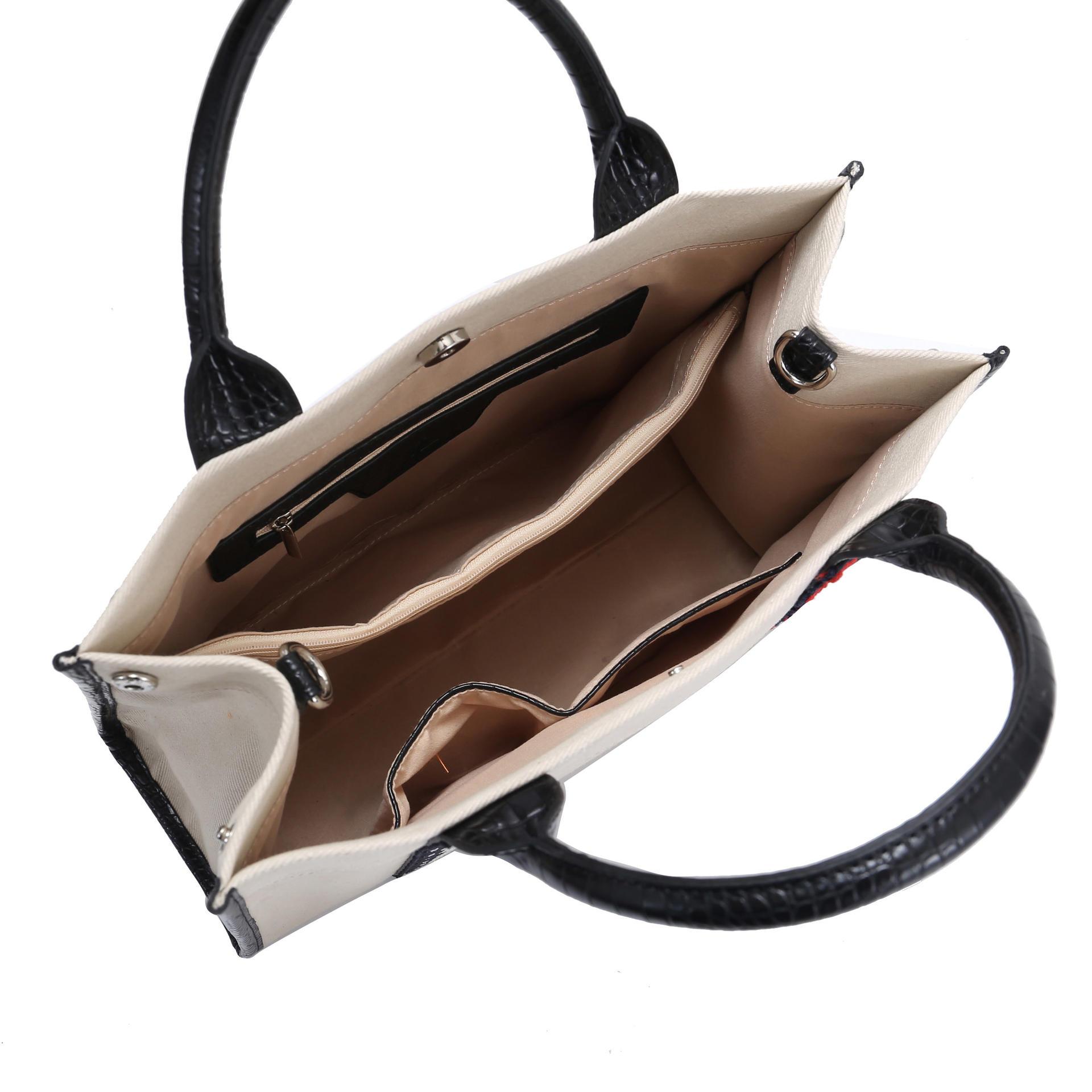 Fashion Canvas Bag Cross Body Bags Women Tote Handbag with PU Handle