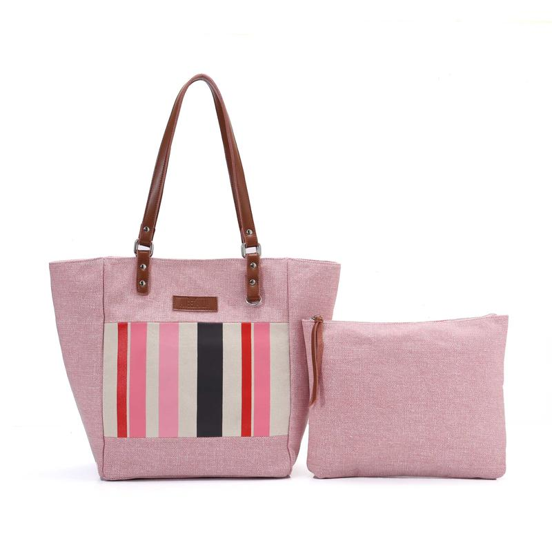 Fashion Ladies Pink Tote Bag Women Clutch Bag with PU/Genuine Leather Handle
