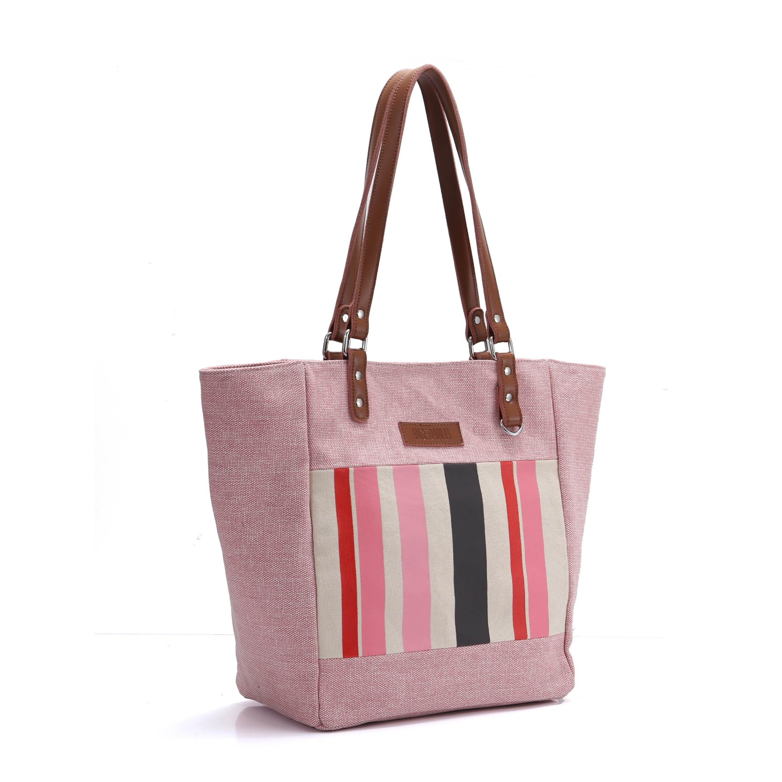 ANGEDANLIA bags canvas and leather bag with zipper for daily life-6