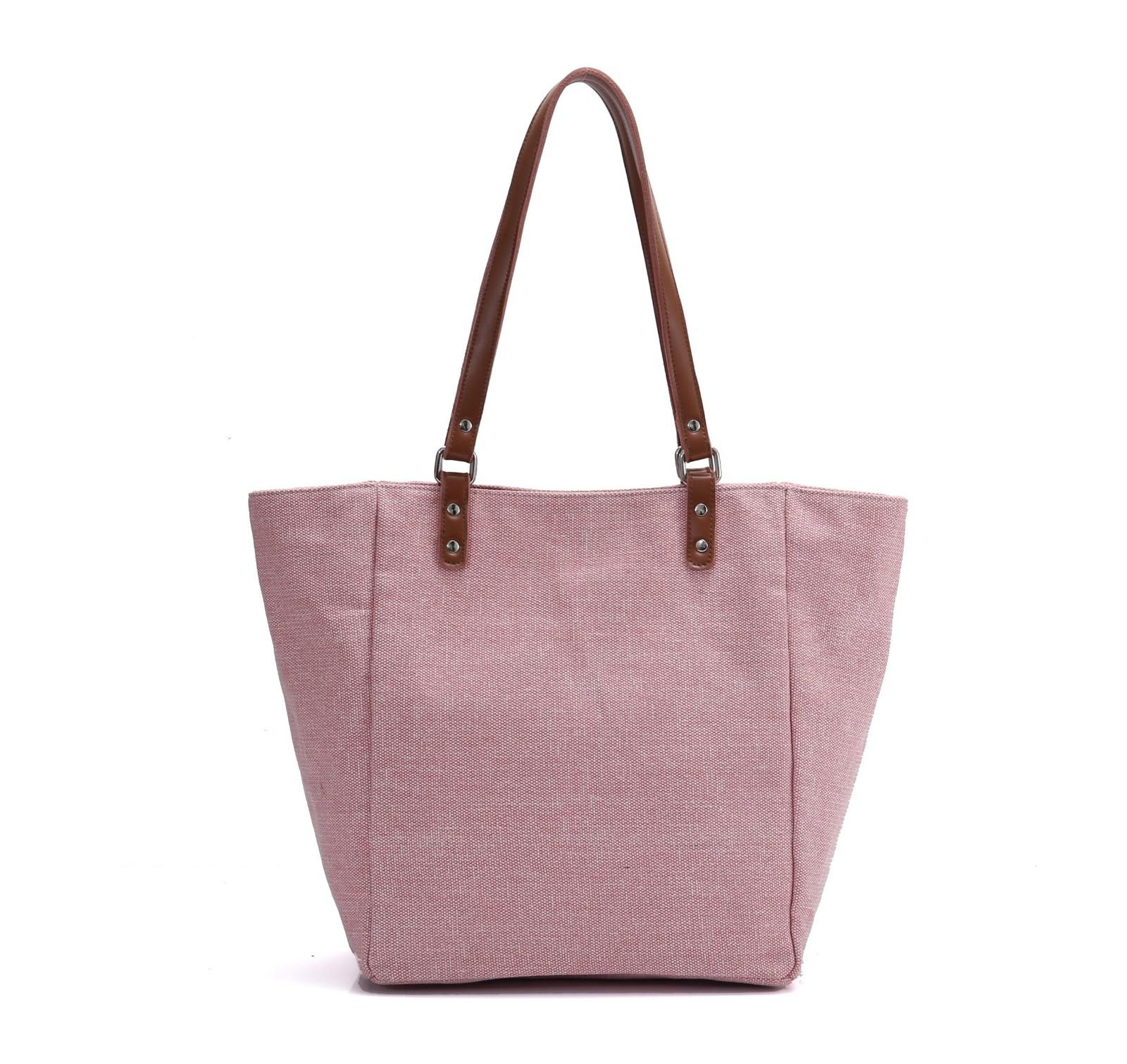 ANGEDANLIA bags canvas and leather bag with zipper for daily life