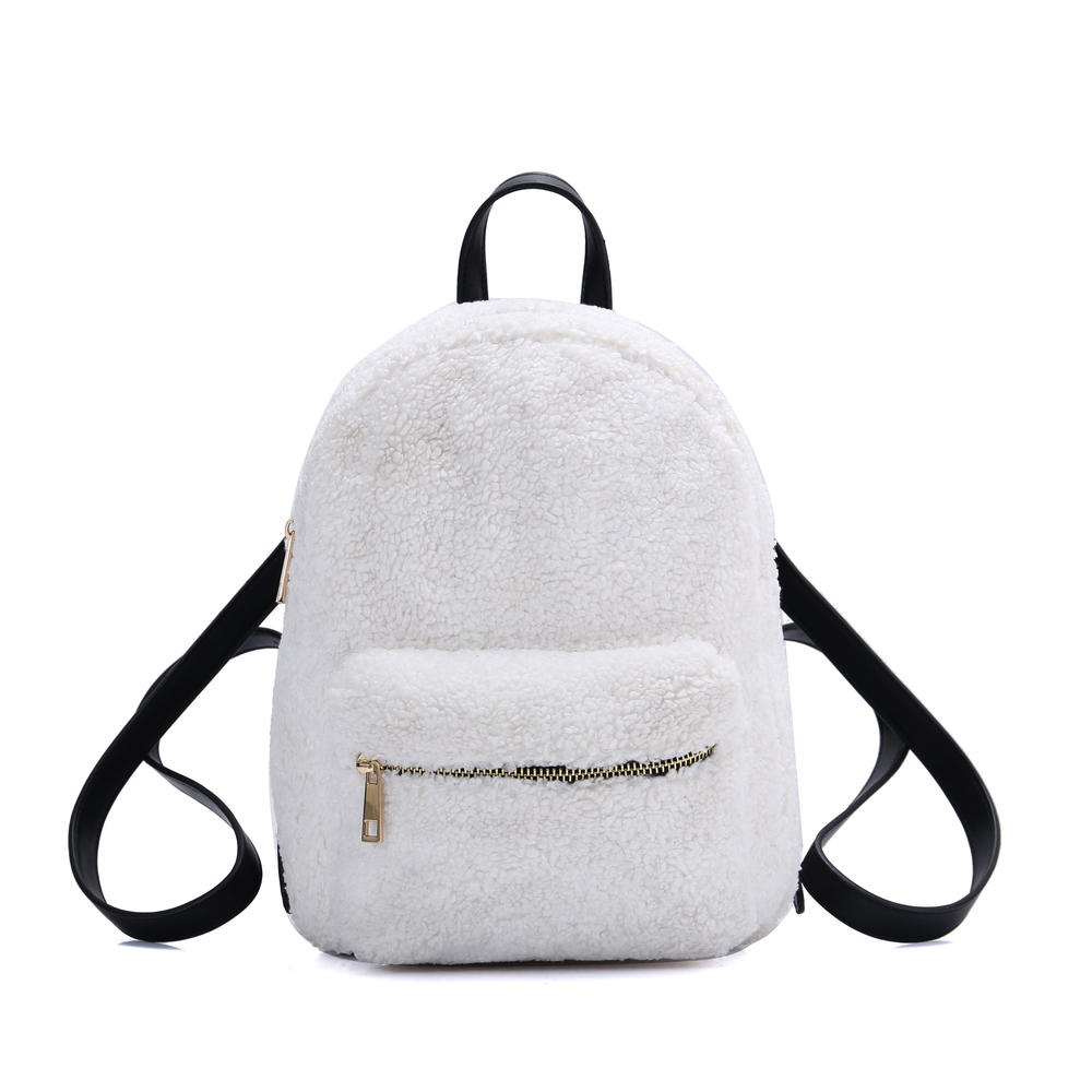 White Woolen Ladies Cross Body Handbag Girls Tote Bag