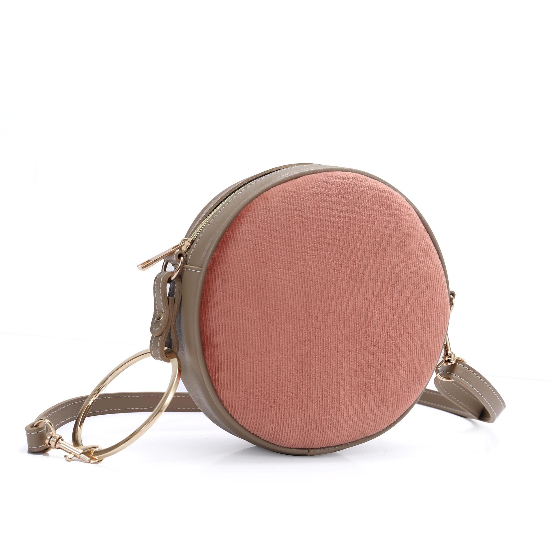 Round Shape Flannel Material Single Shoulder Bag Cross Body Bag with PU Handle
