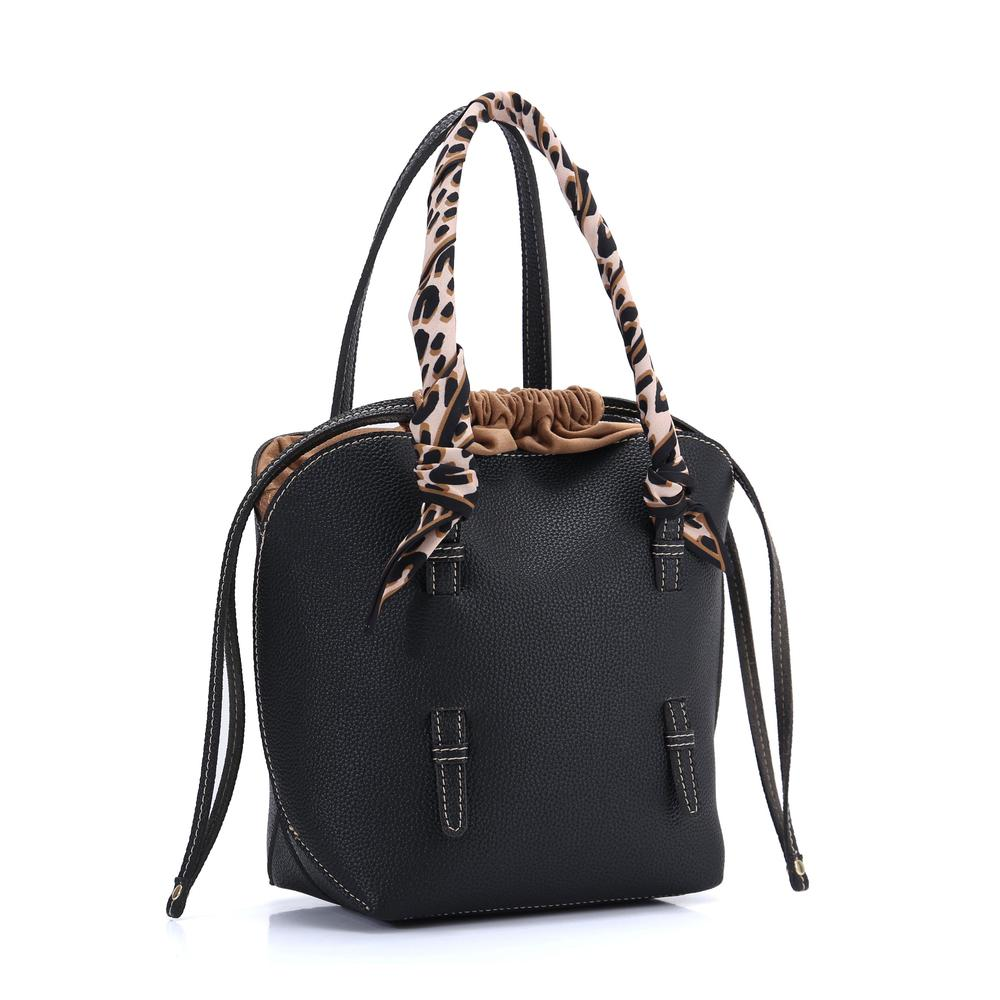 Square Black Ladies Cross Body Handbag PU Leather Tote Bag with Leopard Print Flannel