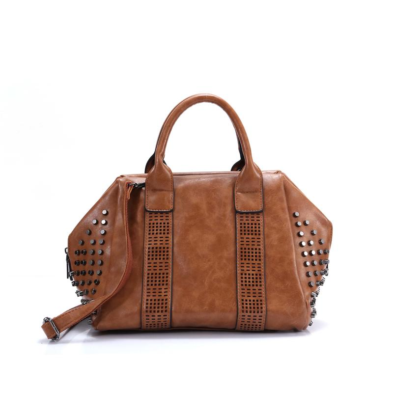 Pillow Shape Ladies Cross Body Bag Tote Handbag Travelling Bag with Rivet on Both Sides of Bag