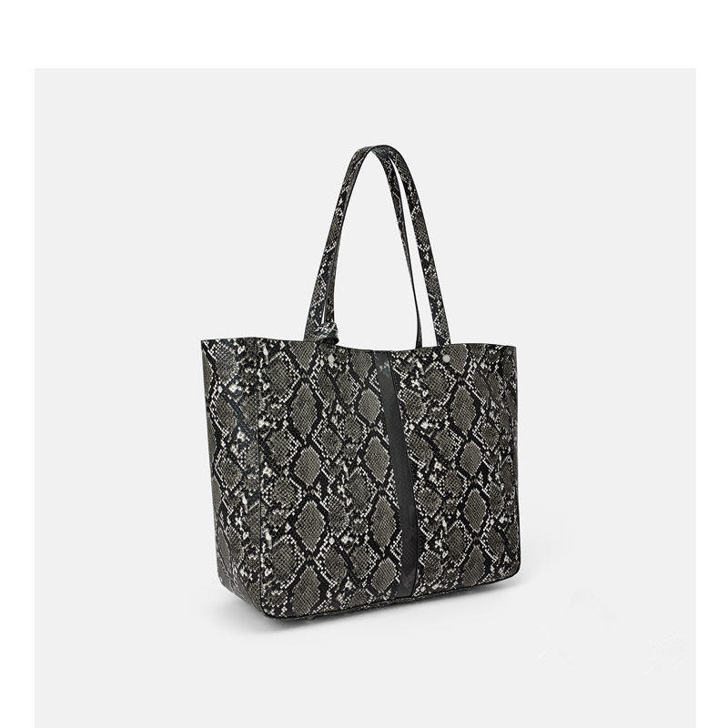 Angedanlia 2019 spring new style large capacity snakeskin grain pu shopping tote bag fashion bag